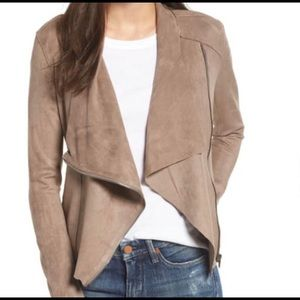 BLANK NYC | faux suede drape front jacket medium